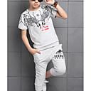 tanie Zestawy ubrań dla chłopców-Dzieci Dla chłopców Moda miejska Nadruk Krótki rękaw Bawełna Komplet odzieży Biały 140