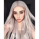 cheap Synthetic Capless Wigs-Synthetic Lace Front Wig Straight Middle Part 150% Density Synthetic Hair Heat Resistant / Women / Fashion Gray Wig Women's Long Lace Front Grey / Yes