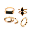 billige Motering-5pcs Dame Edelsten Svart Tau Ring Ring Set - Legering damer, Gotisk Lolita, Rock, Gotisk, Sigøyner Smykker Gull Til Trening Valentine
