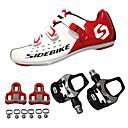 baratos Linhas de Pesca-SIDEBIKE Adulto Sapatilhas de Ciclismo com Travas & Pedal / Tênis para Ciclismo Fibra de Carbono Almofadado Ciclismo Vermelho e Branco Homens