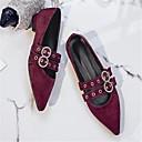 זול קבקבים לנשים-בגדי ריקוד נשים נעליים עור כבשים אביב קיץ נוחות נעליים ללא שרוכים עקב נמוך בוהן מחודדת שחור / Wine