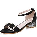 ieftine Tocuri de Damă-Pentru femei Pantofi Imitație Piele Primavara vara Confortabili / Balerini Basic Sandale Toc Îndesat Alb / Negru / Party & Seară