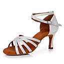 baratos Sapatos de Dança Latina-Mulheres Sapatos de Dança Latina Cetim Têni Salto Alto Magro Personalizável Sapatos de Dança Branco