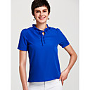 cheap Night Lights-Women's Cute Basic Puff Sleeve Loose Blouse - Solid Colored Stand