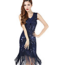 cheap Historical & Vintage Costumes-The Great Gatsby 1920s Roaring Twenties Costume Women's Flapper Dress Black / Blue / Golden Vintage Cosplay Chiffon Party Prom Sleeveless Knee Length / Sequins