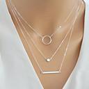 baratos Colares-Mulheres Multi Camadas Bagels colares em camadas colar envoltório colar de trindade Simples Europeu Fashion Dourado Prata 40 cm Colar Jóias 1pç Para Diário