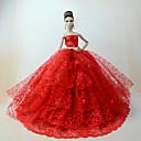 baratos Acessórios de Boneca-Vestidos Vestir Para Boneca Barbie Vermelho Poliéster / Algodão / Renda Vestido Para Menina de Boneca de Brinquedo