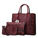 cheap Bag Sets-Women's Bags Genuine Leather Bag Set 3 Pcs Purse Set Buttons / Zipper Black / Brown / Wine