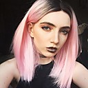 cheap Synthetic Capless Wigs-Synthetic Lace Front Wig Straight Pink Bob Haircut / Middle Part / Free Part Synthetic Hair Pink Wig Women's Medium Length Lace Front