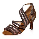 olcso Latin cipők-Női Latin cipők Szatén Szandál Kúpsarok Dance Shoes Fekete / Barna / Piros
