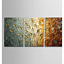 cheap Framed Arts-Oil Painting Hand Painted - Abstract Modern Stretched Canvas / Three Panels
