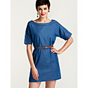 cheap Shoulder Bags-Women's Plus Size Street chic Denim Dress - Solid Colored Blue / Spring / Summer / Fall