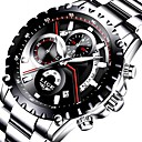 baratos Relógio Elegante-Homens Relógio Elegante Japanês Calendário / Cronógrafo / Impermeável Aço Inoxidável / Couro Legitimo Banda Luxo / Fashion Preta / Prata / Dois anos