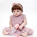 abordables Pelucas Sintéticas con Agarre-FeelWind Muñecas reborn Bebés Niñas 22 pulgada Cuerpo completo de silicona - natural, Artificial Implantation Brown Eyes Kid de Regalo