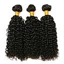 cheap Human Hair Capless Wigs-3 Bundles Brazilian Hair Curly 8A Human Hair Natural Color Hair Weaves / Hair Bulk Extension Bundle Hair 8-28 inch Natural Black Human Hair Weaves Gift Woven Best Quality Human Hair Extensions Women's