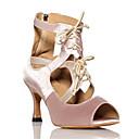 preiswerte Latein Schuhe-Damen Schuhe für den lateinamerikanischen Tanz Satin Sneaker Band-Bindung Schlanke High Heel Tanzschuhe Schwarz / Hautfarben