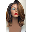 cheap Human Hair Wigs-Human Hair Glueless Lace Front Lace Front Wig Brazilian Hair Body Wave Ombre Wig With Bangs 130% Density 8-26 inch with Baby Hair Ombre Hair Natural Hairline African American Wig 100% Hand Tied Ombre