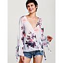cheap Earrings-Women's Butterfly Sleeves T-shirt - Geometric Print V Neck / Floral Patterns