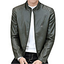 cheap Running Shirts, Pants & Shorts-Men's Street chic Leather Jacket - Contemporary Stand / Long Sleeve