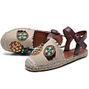 povoljno Ženske sandale-Žene Cipele Sintetika Proljeće ljeto Gladijatorke Ravne cipele Ravna potpetica Okrugli Toe Perlica Crvena / Badem