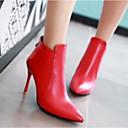 זול מגפי נשים-בגדי ריקוד נשים נעליים PU סתיו נוחות / מגפיים אופנתיים מגפיים עקב סטילטו שחור / אדום