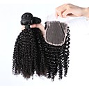 cheap Concealers & Contours-3 Bundles with Closure Indian Hair Kinky Curly 100% Remy Hair Weave Bundles Natural Color Hair Weaves / Hair Bulk 16 inch Natural Human Hair Weaves Human Hair Extensions Women's