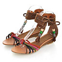 ieftine Sandale de Damă-Pentru femei Pantofi PU Vară Confortabili Sandale Toc Drept Mov / Verde / Maro Deschis