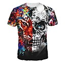 cheap Necklaces-Men's T-shirt - Skull Round Neck / Short Sleeve / Long
