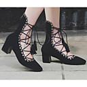 baratos Sapatos de Salto-Mulheres Sapatos Pele de Carneiro Primavera Conforto Saltos Salto Robusto Preto / Rosa Claro / Marron