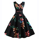 זול תיקי אלכסון-שמש פרח צווארון V מותניים גבוהים עד הברך דפוס, פרחוני - שמלה סווינג רזה וינטאג' Party בגדי ריקוד נשים