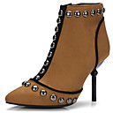 cheap Women's Boots-Women's Shoes Suede Spring &  Fall Bootie Boots Stiletto Heel Pointed Toe Booties / Ankle Boots Rivet Black / Brown / Party & Evening
