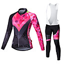 cheap Cycling Jersey & Shorts / Pants Sets-Malciklo Women's Long Sleeve Cycling Jersey with Bib Tights - White / Black Bike Tights / Clothing Suit, Breathable, 3D Pad, Quick Dry Coolmax®, Lycra Patchwork / High Elasticity / Plus Size