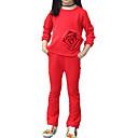 رخيصةأون أطقم ملابس البنات-للفتيات أساسي بنطلون - لون سادة أحمر