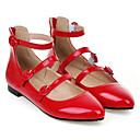 olcso Női alacsony cipők-Női PU Nyár Balerinacipő Lapos Lapos Erősített lábujj Csat Fehér / Fekete / Piros