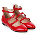 povoljno Ženske sandale-Žene Cipele PU Ljeto Balerinke Ravne cipele Ravna potpetica Krakova Toe Kopča Obala / Crn / Crvena