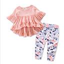 זול אוברולים טריים לתינוקות-סט של בגדים כותנה שרוולים קצרים דפוס פרחוני פעיל בנות תִינוֹק / פעוטות