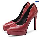 povoljno Ženske ravne cipele-Žene Cipele Mekana koža / PU Proljeće Udobne cipele Cipele na petu Stiletto potpetica Crn / Crvena
