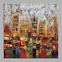 levne Abstraktní malby-Hang-malované olejomalba Ručně malované - Abstraktní Architektura Moderní Bez vnitřní rám / Válcované plátno