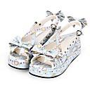 رخيصةأون Lolita باروكات-أحذية الحلوه لوليتا أميرة لوليتا كعب إسفينWedge Heel أحذية تصميم ببيونة 5 cm CM أبيض / أزرق 3# من أجل PU كوستيوم هالوين
