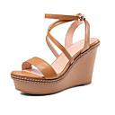 cheap Women's Boots-Women's Shoes Nappa Leather Summer Comfort Sandals Wedge Heel Black / Light Brown