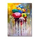 povoljno Ulja na platnu-styledecor® moderne ručno oslikane apstraktne hodalice s šarenim kišobranima u kišnoj kiši na platnu ulje za zidnu umjetnost spremni za objesiti umjetnost