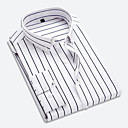 cheap Cycling Jerseys-Men's Daily Work Business / Basic Shirt - Striped Classic Collar Red XXXL / Long Sleeve