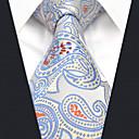 baratos Bijoux de Corps-Homens Festa / Trabalho Gravata Estampa Colorida / Estampado Cashemere / Jacquard Azul e Branco