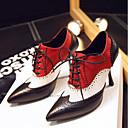 povoljno Ženske cipele bez vezica-Žene Cipele Mekana koža Proljeće Udobne cipele Oksfordice Stiletto potpetica Krakova Toe Crn / Braon