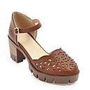 ieftine Sandale de Damă-Pentru femei PU Vară Mary Jane Sandale Toc Îndesat Vârf rotund Cataramă Gri / Migdală / Maro Închis