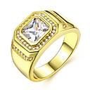 baratos Anéis para Homens-Homens Fashion Anel - Imitações de Diamante Precioso Luxo, Clássico, Fashion 8 / 9 / 10 / 11 / 12 Dourado Para Carnaval Encontro