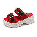 ieftine Sandale de Damă-Pentru femei Pantofi PU Vară Pantof cu Berete Sandale Creepers Alb / Negru / Rosu