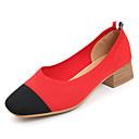 cheap Women's Heels-Women's Suede Spring & Summer Comfort Heels Chunky Heel Round Toe Beige / Brown / Red / Color Block