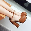ieftine Tocuri de Damă-Pentru femei Pantofi PU Primavara vara Balerini Basic Tocuri Toc Îndesat Vârf rotund Negru / Bej / Maro