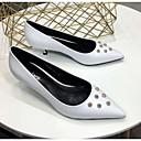 povoljno Ženske cipele bez vezica-Žene Cipele Ovčja koža Ljeto Obične salonke Cipele na petu Stiletto potpetica Obala / Crn / Bijela